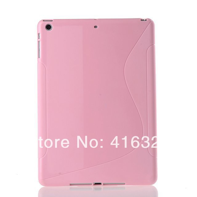 Free Shipping Popular 8 Colors soft case cover For iPad Air 5 TPU Wave pattern back case cover for ipad air 5(China (Mainland))