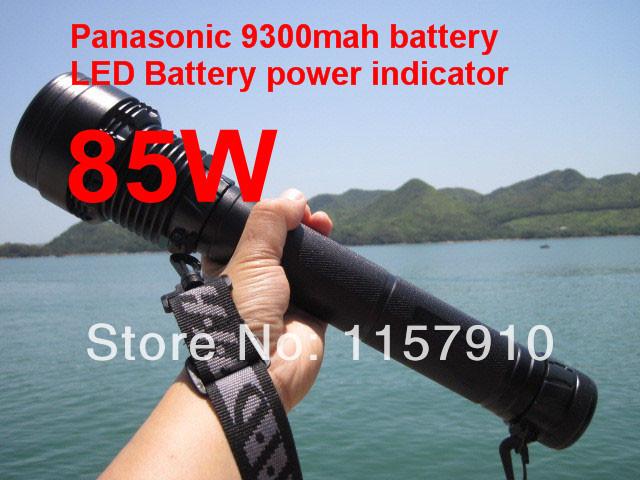 1set Ultra Bright 85W/65W 9300mAh Battery 8000 Lumens Rechargeable HID Flashlight lamp Xenon Torch Black/Silver(China (Mainland))