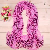 2014 NEW Stylish Girl Long Soft Silk Chiffon Scarf Wrap Stripe Polka Dot Shawl Scarve For Women Hot Sale Wholesale Leopard Print