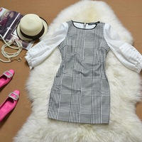 Spring and summer OL outfit half sleeve dress 2014 lattice slim black and white lantern sleeve slim hip short dress