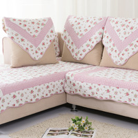 Pink small rose 100% cotton sofa cushion fabric cushion fashion quality rustic sofa towel sofa set