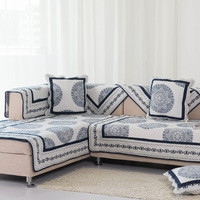 Blue and white porcelain 100% cotton sofa cushion fabric quality classical full thickening sofa towel sofa set
