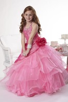 Halter Floor Length Organza Ball Gown Girls Pageant Dress With Beading