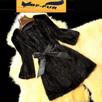 Hot sale! Women Fashion Genuine Mink Fur Coats Natural Furs Jackets Vests  with Belt Slim Plus Size Design
