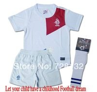 ^_^13-14 Netherlands Home white Holland Kids/youth Uniforms+socks,2014 children football jerseys+shorts+socks free ship ePacket