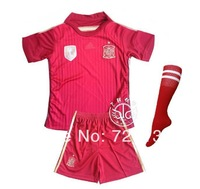 ^_^2014 World Cup Kids style Thailand quality Spain Espana home soccer jersey boys Football tracksuit camisetas futbol jerseys