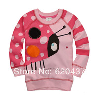 free shipping girls pink ladybug striped tshirt baby autumn long sleeve sweatshirts children's lovely tops