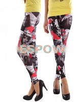 2014 Summer NEW Fashion Star pictures newspaper stitching Printed Leggings