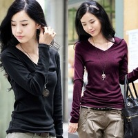 2014 spring and summer cotton 100% all-match V-neck all-match long-sleeve slim solid color basic shirt t-shirt