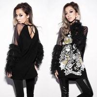 Fashion 2014 spring women's skull personality basic shirt loose long design t-shirt female shirt Black tees$ tops