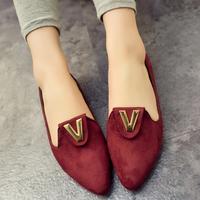 2014 spring sweet velvet rivet metal decoration flat female shoes pointed toe vintage low flat