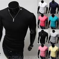 Free Shipping 2014 men's t-shirt slim short sleeve t-shirt spring and summer short-sleeve men tops