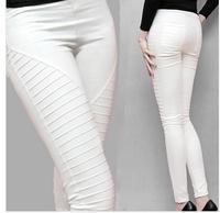 S,M,L,XL XXL Blue/White/Green/Black/Red New 2014 Plus size Pocket Elastic Leggings Women's casual Pleated Trousers Pencil pants