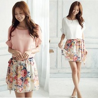 New 2014 Summer Dress Casual Women's Charming Crewneck Chiffon Short Sleeve Floral Mini Dress Plus Size 2 colors
