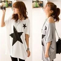 Spring 2014 new special big stars loose bat sleeve cotton T-shirt