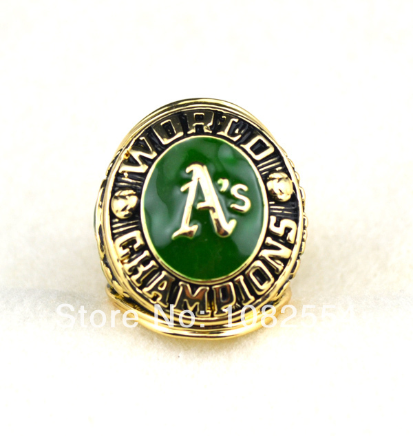 Free shipping green enamel 18K gold Oakland athletics A'S RINGS national championship rings Size 11 (R109588)(China (Mainland))