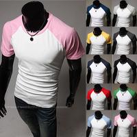 Free Shipping 2014 Men's Clothes Summer Casual O Neck Short Sleeve Sport Cotton Men Tshirt