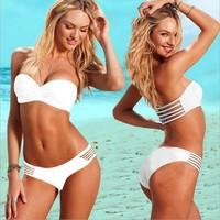 Free shipping new 2014 fashion swimwears women strapless bikini set brand bottom bikinis beach bathing push up swimsuit 3009