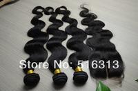 Queen Hair  Peruvian Virgin Hair 4Pcs Hair Bundles With Middle Part Closure Body Wave Unprocessed Human Hair Weft Extension