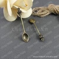 40 pcs/lot Zinc alloy bead Antique Bronze Plated Charms Pendants Fit Jewelry 59*12MM  Crown spoon Shape JJA1323