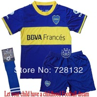 ^_^13-14 Boca juniors Home Blue Kids/youth Uniform+sock,2014 Boca children football jerseys+shorts+socks free ship ePacket