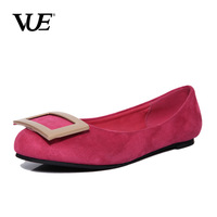 Vue 2014 spring metal side buckle round toe flat-bottomed single shoes female casual flat heel shallow mouth single shoes