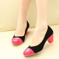 2014 spring color block single shoes female shoes coarse ol women's shoes single shoes