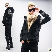 CY015 New 2014 spring&fall Korean style Super thick warm Faux Fur men Vests  fashion brand waistcoat men's  Hooded Outerwear