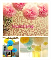 "Free shipping-10pcs 38cm (15"") Pink Tissue Paper Pom Poms Wedding Party Decor Flower Balls For Living Room Decor-20 Colors"