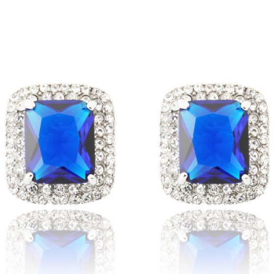 2014 New Arrival Neoglory Zircon Austria Rhinestone 14K Gold Plated Square Design Korea Style Stud Earrings Jewelry For Women(China (Mainland))