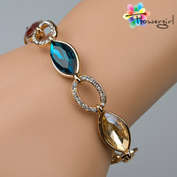 2014 New Arrival Women Jewelry Top Quality 18K Gold Bangle With Oval Rhinestone [3263-A33]
