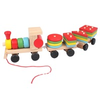1 Set Colorful Wooden Small Train Building Blocks Intellect Educational Toy for Baby Children