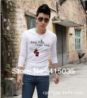 men's Trend all - match men long sleeve T-shirt joker round neck long sleeve shirt/cotton blended yarn 20pcs/1lot  free shipping