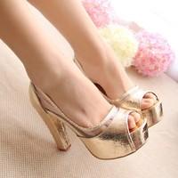 Fashion Peep Toe Shoes Woman Female Shoe Platform Thick Heel Sandals Women Pumps Ladies Sandals