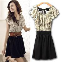 2014 spring and summer sweet elegant slim waist dress ruffle sleeve chiffon one-piece dress with belt #203