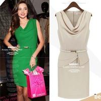 4 Color M L XL Plus Size New European Fashion Women dress Popular Elegant Sleeveless ruffle irregular Dress Casual Dress