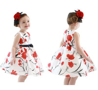Korea style new 2014 summer autumn fashion high quanlity baby dress princess print knee-length sleeveless flower girl dresses