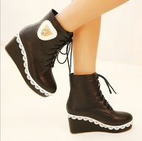 HS 12-15 High Quality Girl's Lovely Fashion Lion Print with Lace Ankle Boots Black Wine Red Sexy Lady's Casual Platforms Shoes