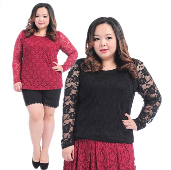 Fashion 2 Colors Lace Plus Size Blouse Retro Fat women Tops Ladies Long Sleeve Top Tees Large Big Size Shirts Clothing New 2014(China (Mainland))