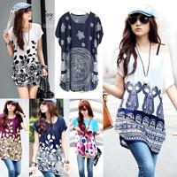 (Storage Clearance Sale) European Plus Long Women Clothing T-shirt Fat Korean Base Shirt Upper Garment Summer/Autumn Top shirt