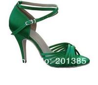 Women Green Satin Cross Straps Ballroom Latin Dance Shoes Wholesale Salsa Shoes Size 4,5,6,7,8,9,10