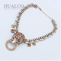 2014 New Fashion Punk Style Double Layer Chunky Chain Leopard Head Rhinestone Necklace Party and Weding N1578 N1579