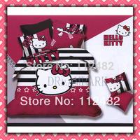 Stripe Hello kitty Cotton Children 3pcs Bedding Set Pink Kid Single Bed Size Free Shipping
