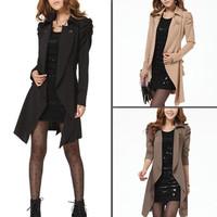 2014 New Women Lady Girl Jacket Lapel Warm Coat Jacket Overcoat Adjustable Waist Outwear Long Sleeve Slim 3312