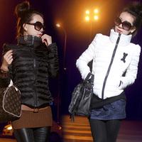 2013 autumn winter women turtleneck short design slim down coat wadded jacket cotton-padded jacket outerwear slim free shiping