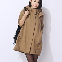 Maternity clothing autumn fashion maternity trench outerwear for pregnant loose 100% cotton plus size jacket for pregnant women