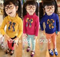 2014 spring autumn girl bowknot children suit T-shirt + leggings/two-piece cotton children's wear suit 5PCS/1lot /Free shipping