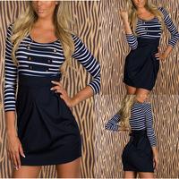european stylish 2014 fashion women long sleeve button striped bodycon mini dress sailor blue casual dress
