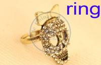 rings finger Fashion popular Jewelry for women Girl's cystal black skull pink bowknot adjustable  CN post