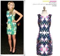 S M L XL Plus Size 2014 New Fashion Big Brand Model Women Sexy Sleeveless Flower Printed Dress Summer Casual Dress Green/Purple
